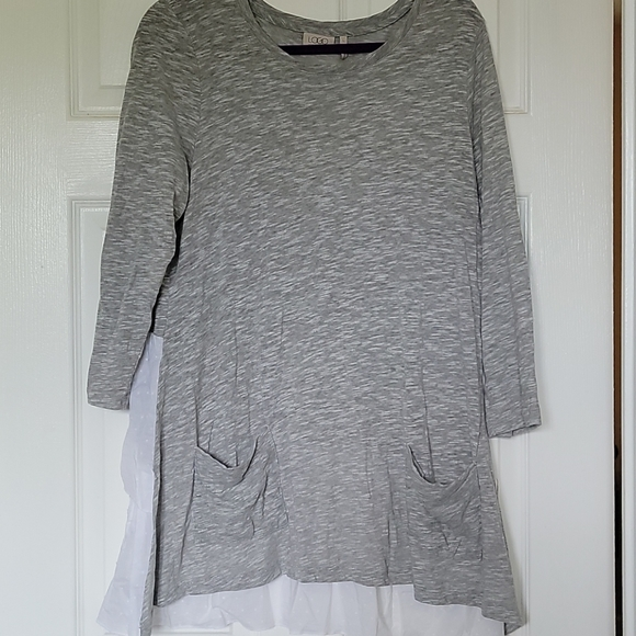 Comfy Grey tunic with lace and pockets